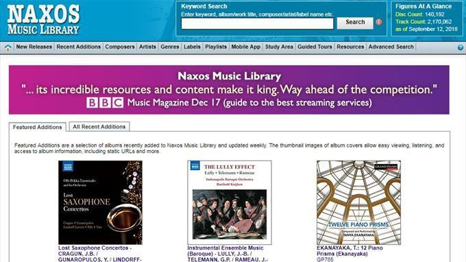 Naxos Music Librarys front page