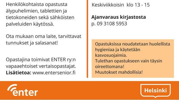 Linkki tapahtumaan ENTER ry:n vertaisopastusta syksy 2021