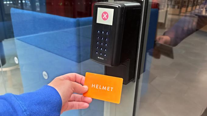 Helmet library card.